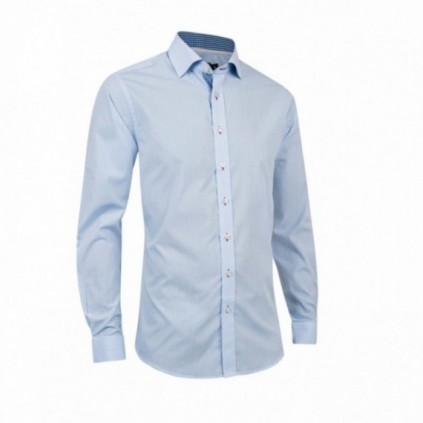 COTTON BLEND SMALL CHECK SHIRT Blå